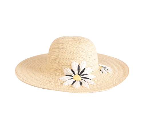 floppy hat with embroidered flowers