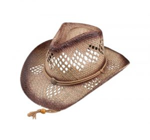 Straw cowboy hat with rope