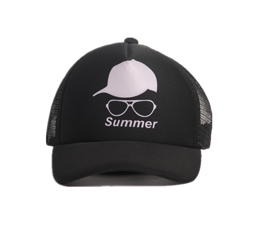 Printed black baseball cap