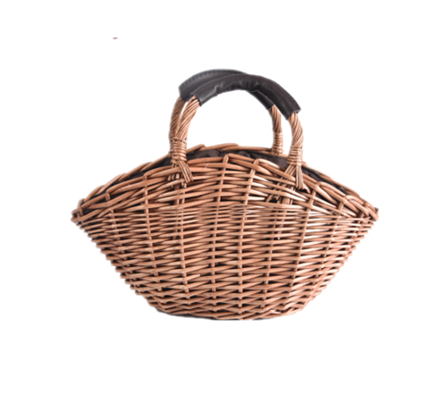 Natural straw basket for ladies