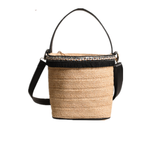 Natural straw bucket bag