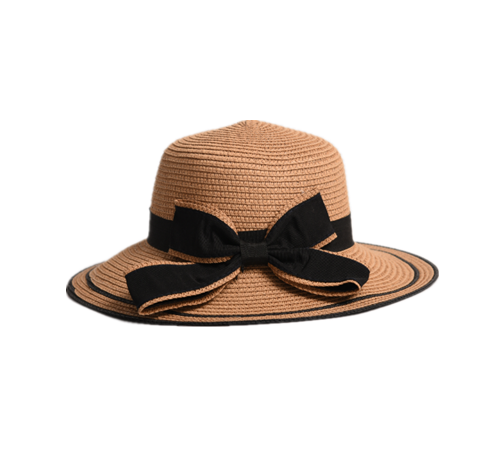 brown paper braid bucket hat with bowknot